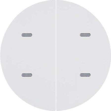Tastsensor 2fach Komfort mit Beschriftungsfeld KNX R.x polarweiß glänzend Hager 80162869