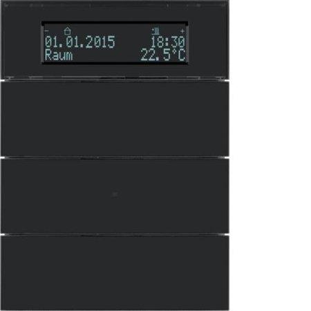 Tastsensor 3fach mit Temperaturregler und Display B.IQ Glas schwarz Hager 75663592