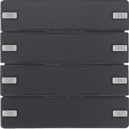 Tastsensor 4fach Komfort mit Beschriftungsfeld KNX Q.x anthrazit samt Hager 80144326