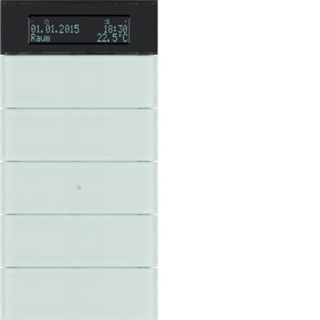 Tastsensor 5fach mit Temperaturregler und Display B.IQ Glas polarweiß Hager 75665590