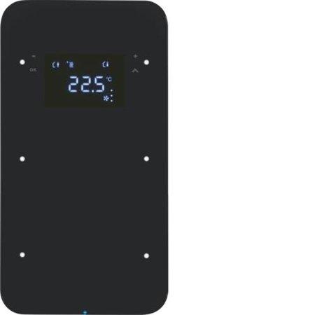 Touchsensor 2fach mit Temperaturregler R.1 Glas schwarz Hager 75642065