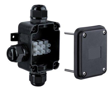 Wandaufbauleuchte 3 - Anschlussdose IP68 Schwarz mit einem Durchmesser do 15mm